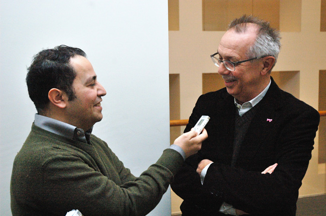 Emilio Esbardo making an interview with Dieter Kosslick, the director of the Berlin International Film Festival
