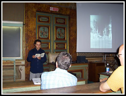Emilio Esbardo at his lecture at the University of Köln